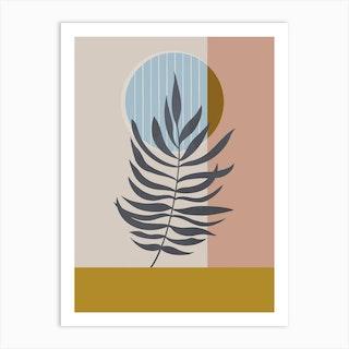 Palm Leaf In Mustard In Blush Art Print