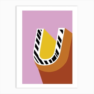 U Geometric Font Art Print