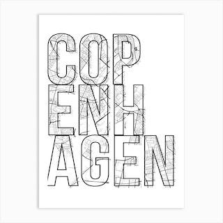 Copenhagen Street Map Typography Art Print
