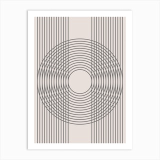 Abstract Multiline Circle Neutral Art Print