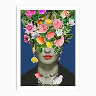 Frida Floral Blue Art Print