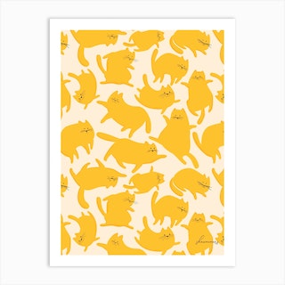 Cats Yellow Pattern Art Print