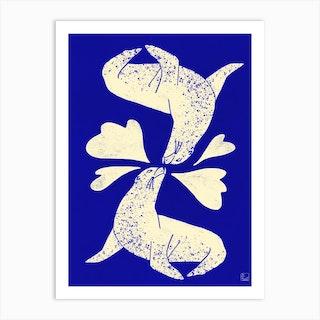 Seals In Love Art Print