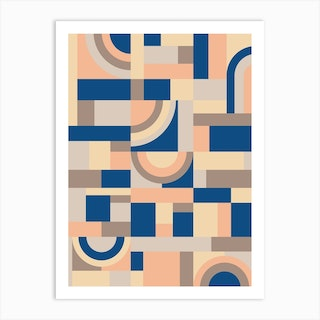 Soft And Blue Blocks Art Print