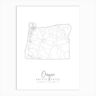 Oregon Minimal Street Map Art Print