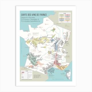Carte Des Vins De France Art Print