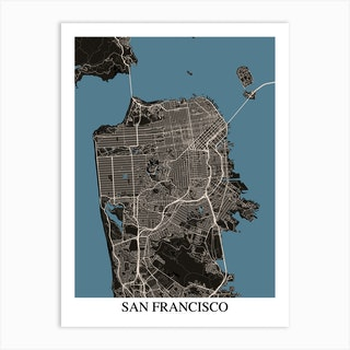 San Francisco California Black Blue Art Print