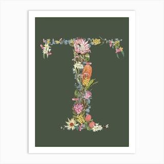 T Olive Alphabet Letter Art Print