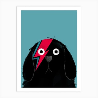 Dog Bowie Black Art Print