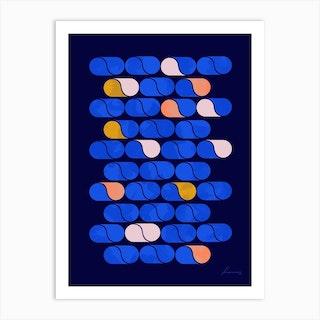 Blue Modern Pattern Art Print