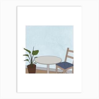 Table And Chair Line Art Art Print