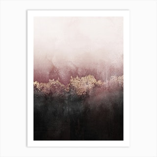 Pink And Gold Sky Art Print