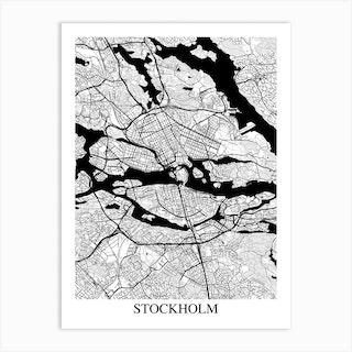 Stockholm White Black Art Print