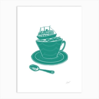 Britannia Boat Teacup Art Print