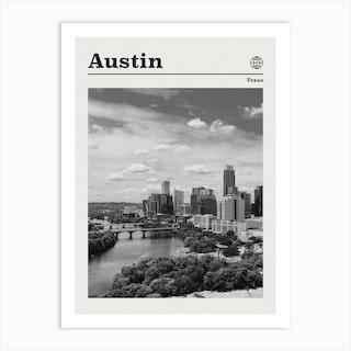 Austin Texas Black And White Art Print