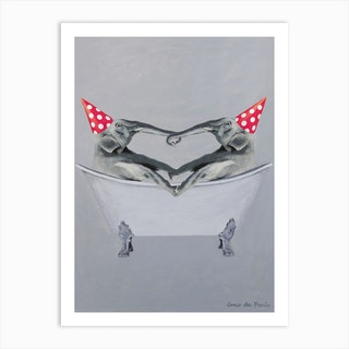 Party Elephants In Bathtub Art Print
