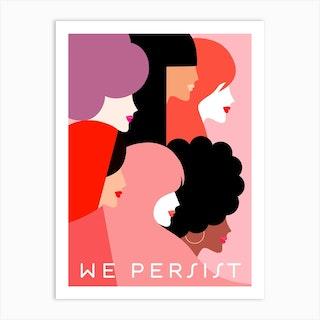 Girl Power We Persist Coral Art Print
