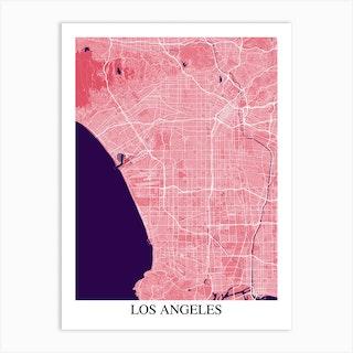 Los Angeles California Pink Purple Art Print