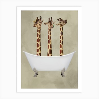 Giraffes In Bathtub Art Print