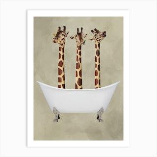 Giraffes In Bathtub Art Print