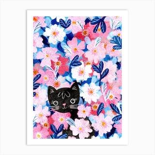 Peekaboo Kitten Art Print