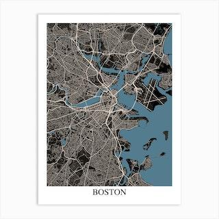 Boston Massachusetts Black Blue Art Print