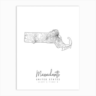 Massachusetts Minimal Street Map Art Print
