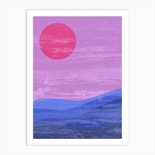 Sun And Waves Bi Pride Art Print