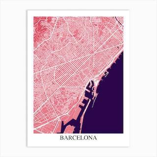 Barcelona Pink Purple Art Print