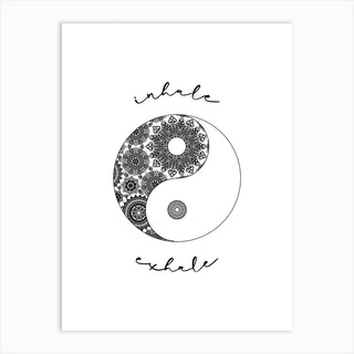 Inhale Exhale Black White Mandala Art Print