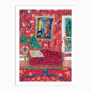 Ornate Red Interior Painting With Wild Cats After Matisse Art Print