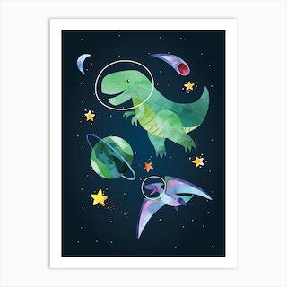 Watercolour Space Dinosaur T Rex Art Print