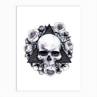 Skull And Flowers Art Print