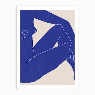 Nude Study Blue 1 Art Print