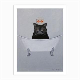 Black Cat With Fishbowl In Bathtub Art Print