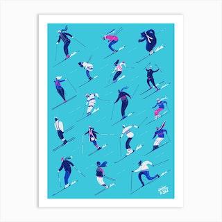 Jadore Le Ski Blue Version Art Print