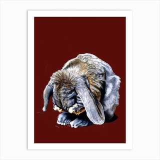 Belated Bunny On Red Oxide Art Print