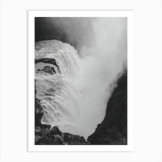 Gullfoss Black And White Landscape Art Print