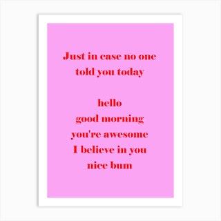 Pink Bum Art Print