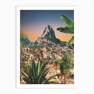 Mountain Peak And Palm Trees Art Print