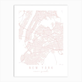 New York New York Light Pink Minimal Street Map Art Print