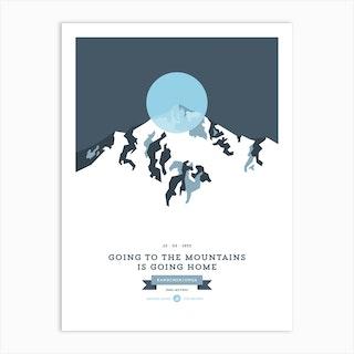 Mountains Illustrated Kangchenjunga Blue Circle Art Print