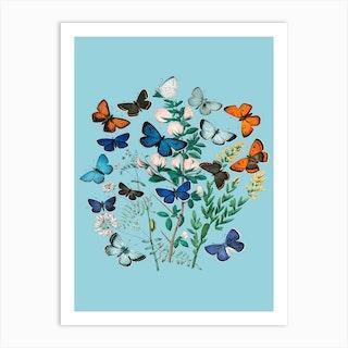 Vintgage Flowers Butterfly Floral Illustration Blue Art Print
