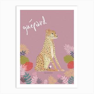 Cheetah In Blush Pink Art Print
