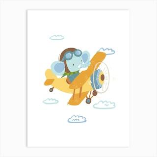 Pilot Elephant Art Print