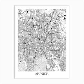 Munich White Black Art Print