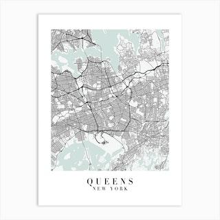 Queens New York Street Map Minimal Color Art Print