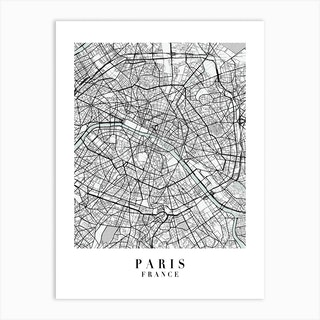 Paris France Street Map Minimal Color Art Print