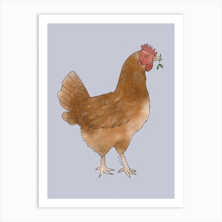 Miss Hen Chicken 2 Art Print