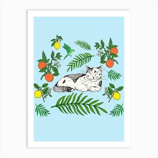 Citrus Cats Art Print